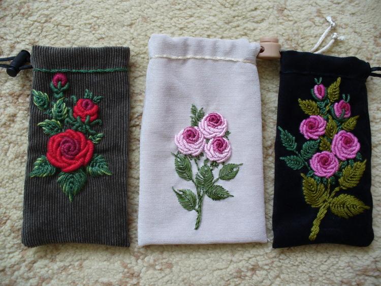 Мешочки для телефонов,очков и косметичек от Марины Ленченко-Бурец.