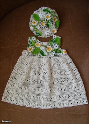 схемы вязания крючком детского платья и юбки.