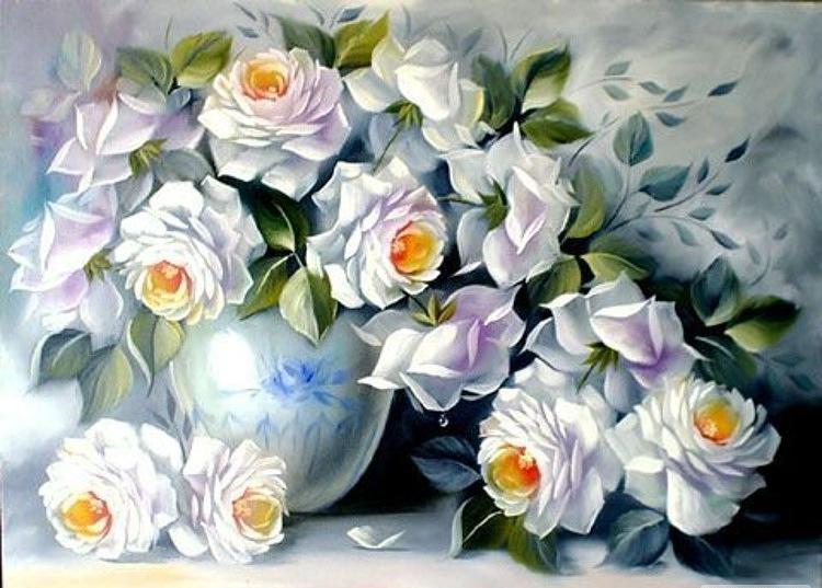 """Схемы вышивки.  2Gelya2009.  Портал  """"Вышивка крестом """".  Предпросмотр.  Схема вышивки  """"Белые розы """" ."""