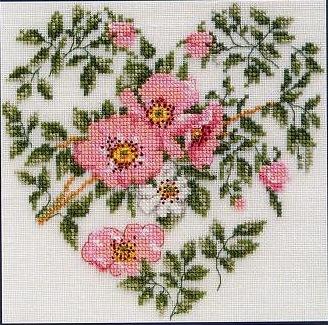 Розовое сердце (France Roses Heart), 18х18, лен 28, счетный крест.  520 руб.Сундучок-шоп. арт.