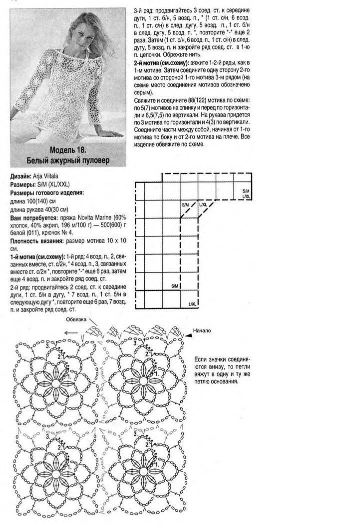 Вязаные белые кофты крючком со схемами и описанием