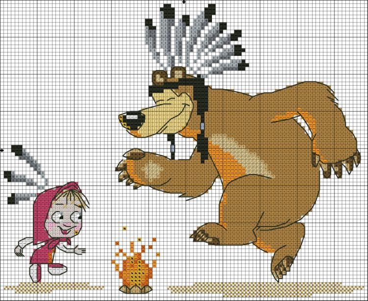 Вышивка схем маша медведь 725