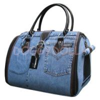 Большая, вместительная сумка-переноска для собак выполнена из джинсовой...