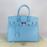 Реплика Hermes Birkin сумки 035 голубой (серебро)