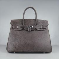 Реплика Hermes Birkin сумки 030 страуса коричневый (серебро)