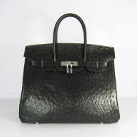 Реплика Hermes Birkin сумки 035 страус черный (серебро)