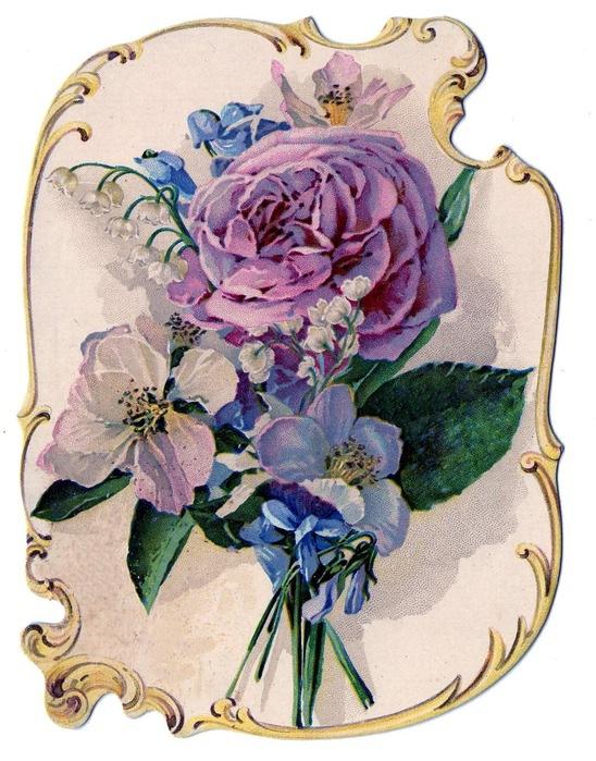 """Оригинал схемы вышивки  """"лиловые цветы """" ."""