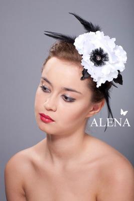 Цветы из ткани, шляпки - модель Мак белый.