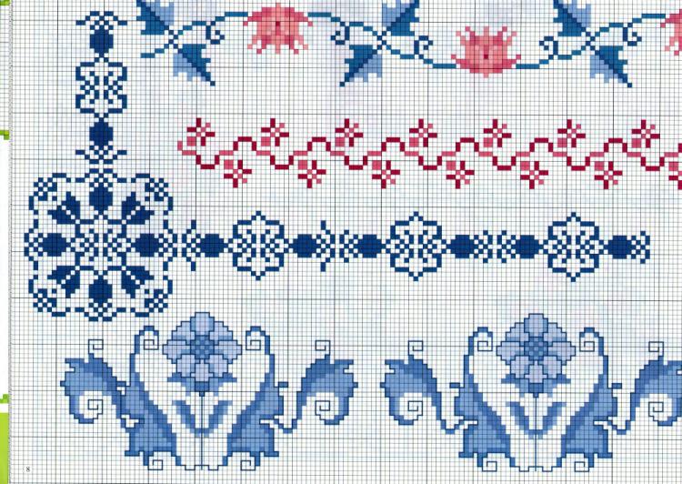 Вышивка с узорами в крестики 501
