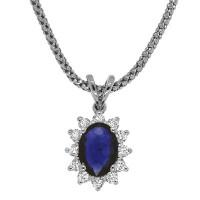 Кулон - серебро, сапфир, бриллианты