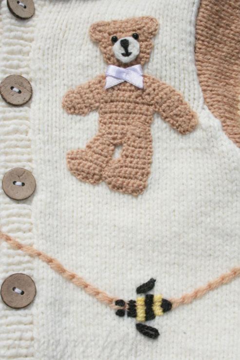 Ayıcık motifli kapşonlu bebek hırkası