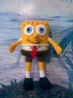 Игрушка Вязание крючком: Спанч Боб Пряжа.  Фото 1.