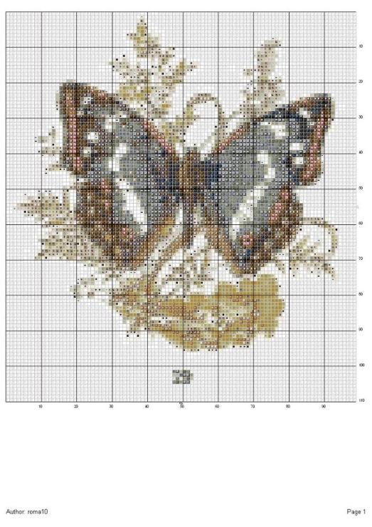 схема вышивки бисером бабочка.