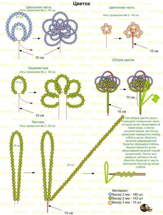 Цветок из бисера схемы