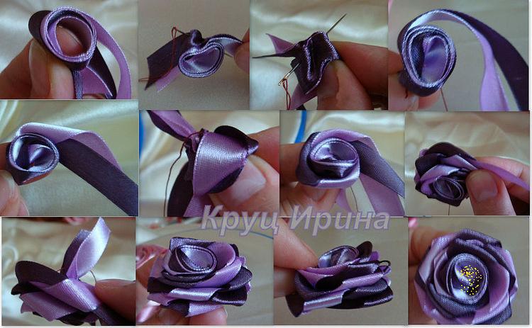 Как сделать розочку из лент своими руками