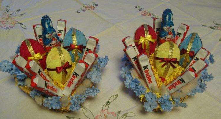 Букеты из конфет к пасхе