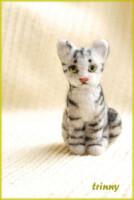 """Валяная игрушка кошка  """"Вискасная Кыся Маруся """" 6 см."""