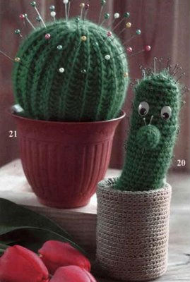 Вязание спицами.  Забавные вязаные кактусы, в отличии от...