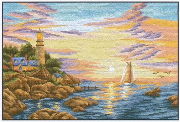 Вышивка пейзаж морской 86