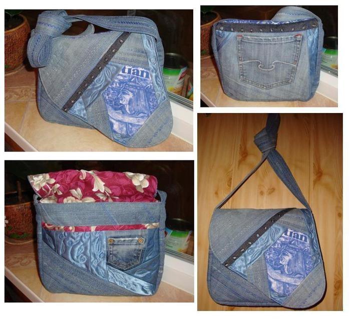 Гардероб Шитьё: Сумка из старых джинсов Материал бросовый.