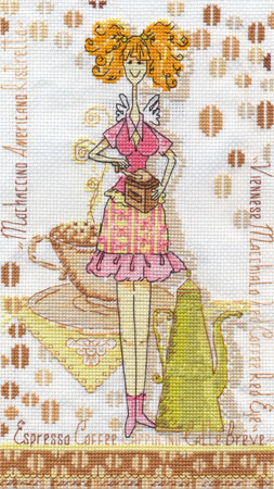 """Схема вышивки  """"Девушка с кофе """": схема."""